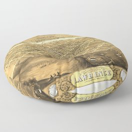 Bird's Eye View of Lawrence, Kansas (1869) Floor Pillow