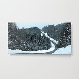 Winter Mountain Road Metal Print