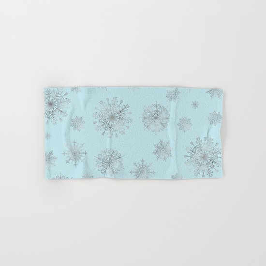 Assorted Silver Snowflakes On Light Blue Background Hand & Bath Towel