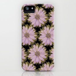 Large Gold & Lilac Flowers On Black iPhone Case