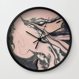 Pink and black marbled paper Wall Clock