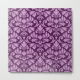 Flourish Damask Big Ptn Pink on Plum Metal Print