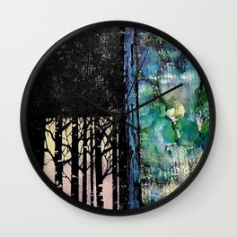 Forest Love - Mixed Media Acrylic Alcohol Ink Abstract Modern Art, 2015 Wall Clock