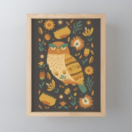 Autumn Folk Art Owl Framed Mini Art Print