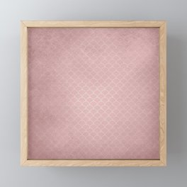 Grunge textured rose quartz small scallop pattern Framed Mini Art Print