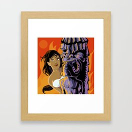 Wahine, Moon And Fire Framed Art Print