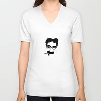 marx V-neck T-shirts featuring Groucho Marx by muffa