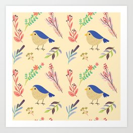 Cute hand painted blue coral ivory bird floral pattern Art Print