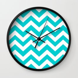 Dark turquoise - turquoise color - Zigzag Chevron Pattern Wall Clock
