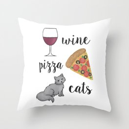 Wine Pizza Cats Throw Pillow