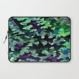 Foliage Abstract Pop Art In Jade Green and Purple Laptop Sleeve
