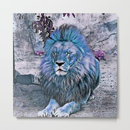 Toony Lion blue Metal Print