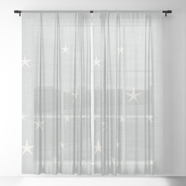 Grey star with fabric texture - narwhal collection Sheer Curtain