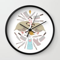 cooking Wall Clocks featuring Cooking Birds by April Yim