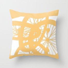 Bike wheels in yellow Throw Pillow