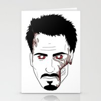 robert downey jr Stationery Cards featuring Zombie Robert Downey Jr. by Roman Jones