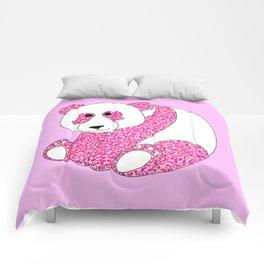 Pointillism Panda Illustration in Pink Comforters