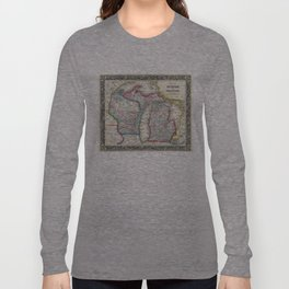 Vintage Map of Michigan and Wisconsin (1860) Long Sleeve T-shirt