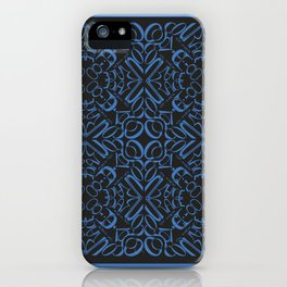 Courage of her Conviction Tiled - Blue Black iPhone Case