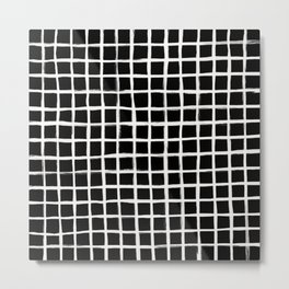 Strokes Grid - Off White on Black Metal Print