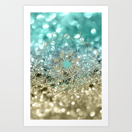 Star Mandala on Lemon Twist Beach Glitter #4 #shiny #decor #art #society6 by anitabellajantz