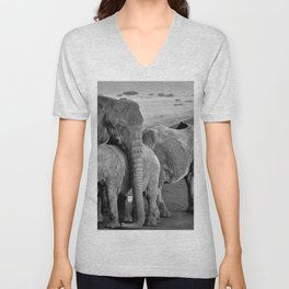 12,000pixel - 500dpi, High Quality Photograph - Waterside Elephant Family III - Black and white Unisex V-Neck