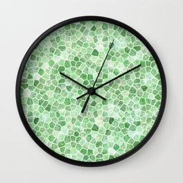 Pale Emerald and Pistachio Cobbled Patchwork Wall Clock