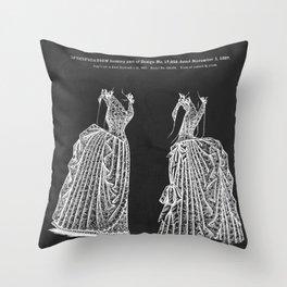 1887 Lady's Dress Patent Print Throw Pillow