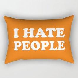 I Hate People - Orange and White Rectangular Pillow