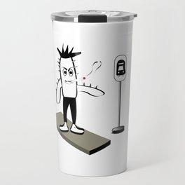 Spikey Cactus at Bus Stop Travel Mug