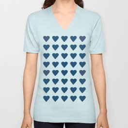 64 Hearts Navy Unisex V-Neck