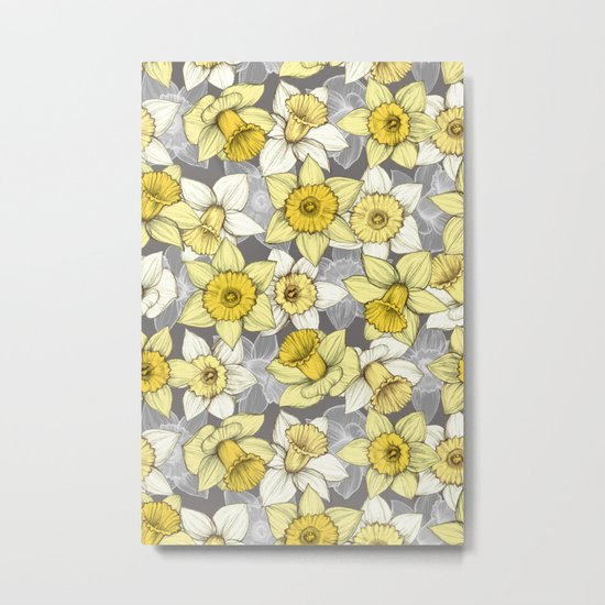 Daffodil Daze - yellow & grey daffodil illustration pattern Metal Print