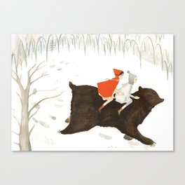 Bear's Escape in the Snow Canvas Print