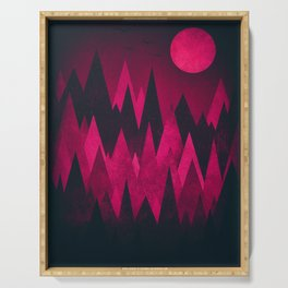 Dark Triangles (Peak Woods) Abstract Grunge Mountains Design (red/black) Serving Tray