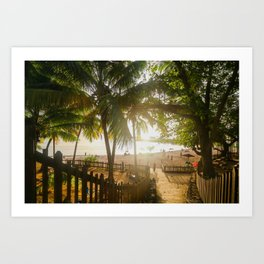Sunset Behind Palm Trees Art Print