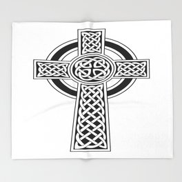 St Patrick's Day Celtic Cross Black and White Throw Blanket
