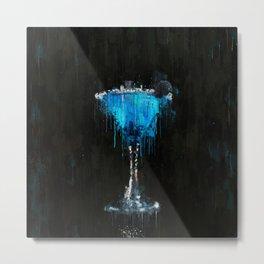 Painted blue raspberry martini cocktail Metal Print