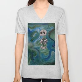 Blue Skelly Dude Unisex V-Neck