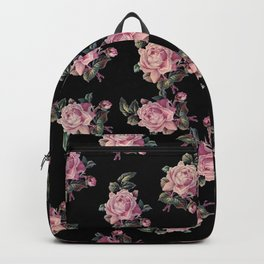 Pink Roses Dark Floral Pattern Backpack