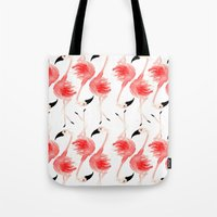 flamingos Tote Bags featuring Flamingos! by Bouffants and Broken Hearts