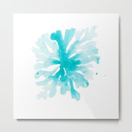 Turquoise Blue Coral Metal Print