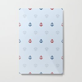 Seamless pattern with anchors Metal Print