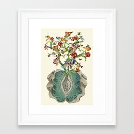 Anatomy of a Female Orgasm anatomical collage art by bedelgeuse Framed Art Print