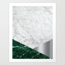 White Marble - Green Granite & Silver #999 Art Print