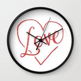 Love Heart Lettering Wall Clock