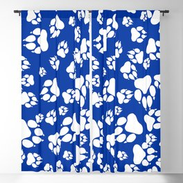 Blue and White Wildcats Paw Print Pattern Digital Design Blackout Curtain