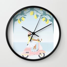 Scooter ride in the sun past lemons and lemon trees 2 Wall Clock