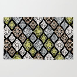 4 Metallic Ink Mandala-Diamonds Textile Rug