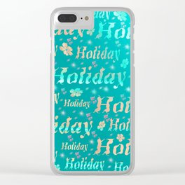shiny font happy holidays in mint blue Clear iPhone Case
