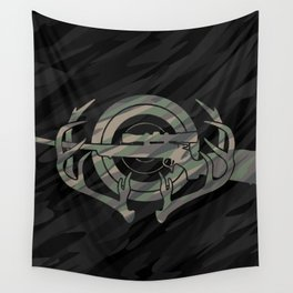 Camouflage Hunting and Shooting Sports Logo with Rifle, Buck Horns and Target Wall Tapestry